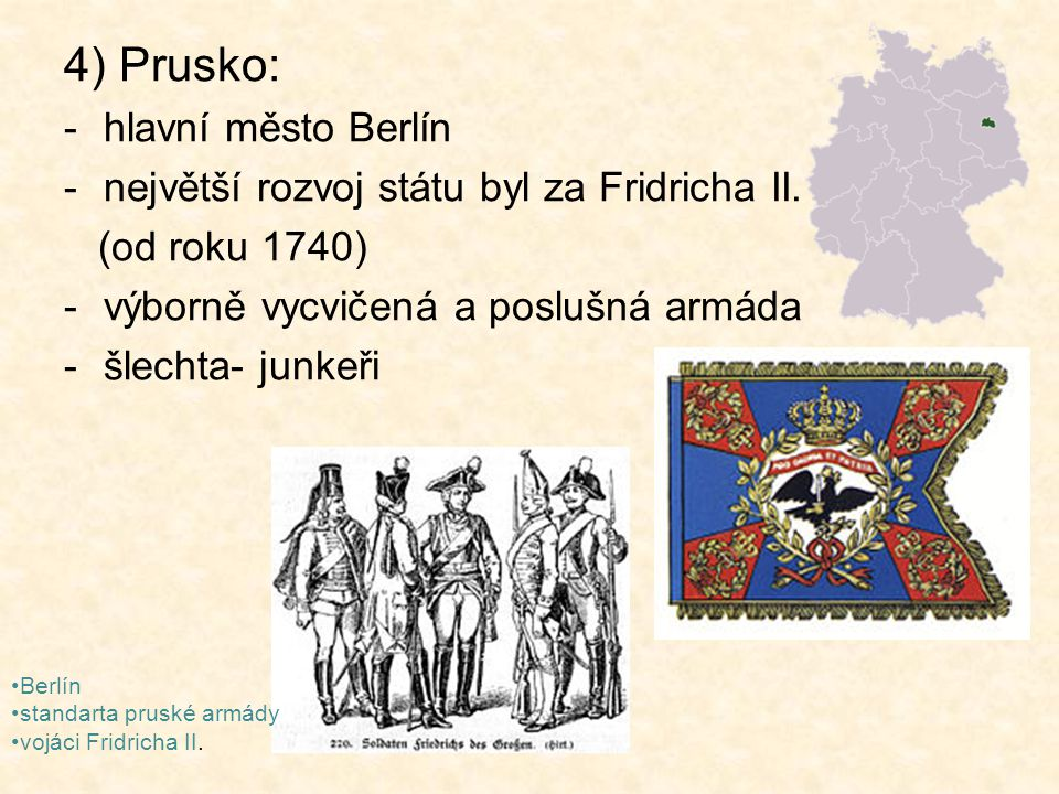 4) Prusko: hlavní město Berlín