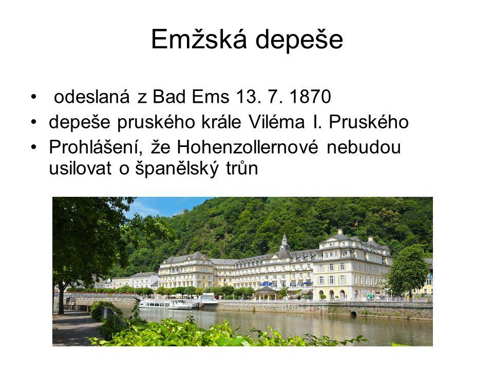 Emžská depeše odeslaná z Bad Ems 13. 7. 1870