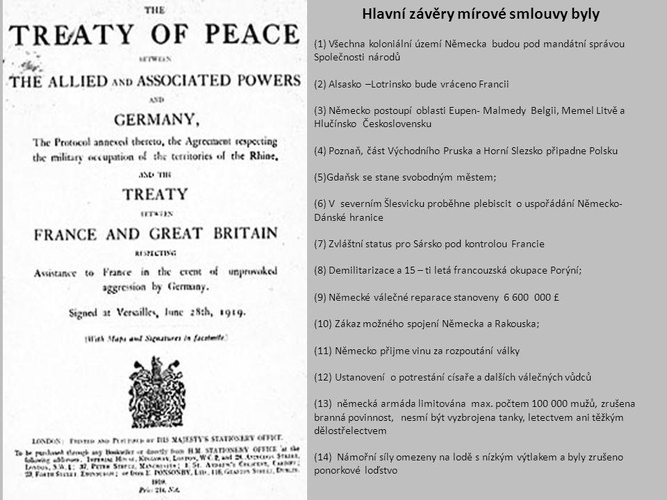 Hlavní závěry mírové smlouvy byly