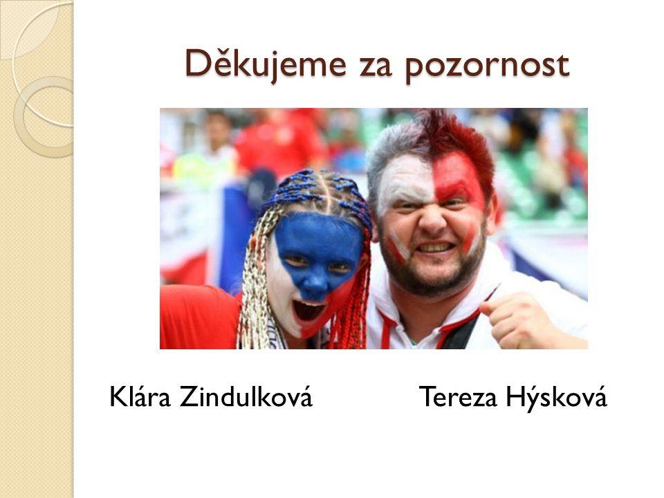 Děkujeme za pozornost Klára Zindulková Tereza Hýsková