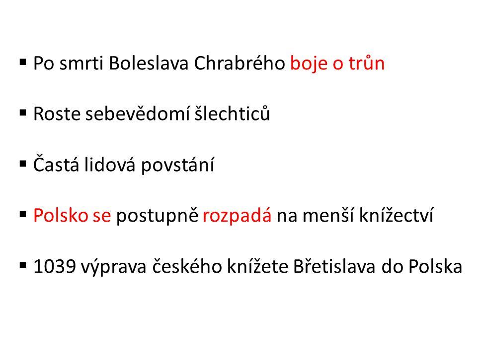 Po smrti Boleslava Chrabrého boje o trůn