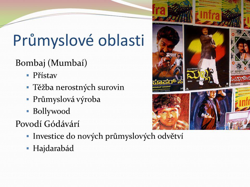 Průmyslové oblasti Bombaj (Mumbaí) Povodí Gódávárí Přístav