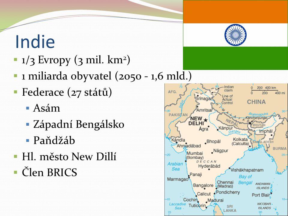 Indie 1/3 Evropy (3 mil. km2) 1 miliarda obyvatel (2050 - 1,6 mld.)