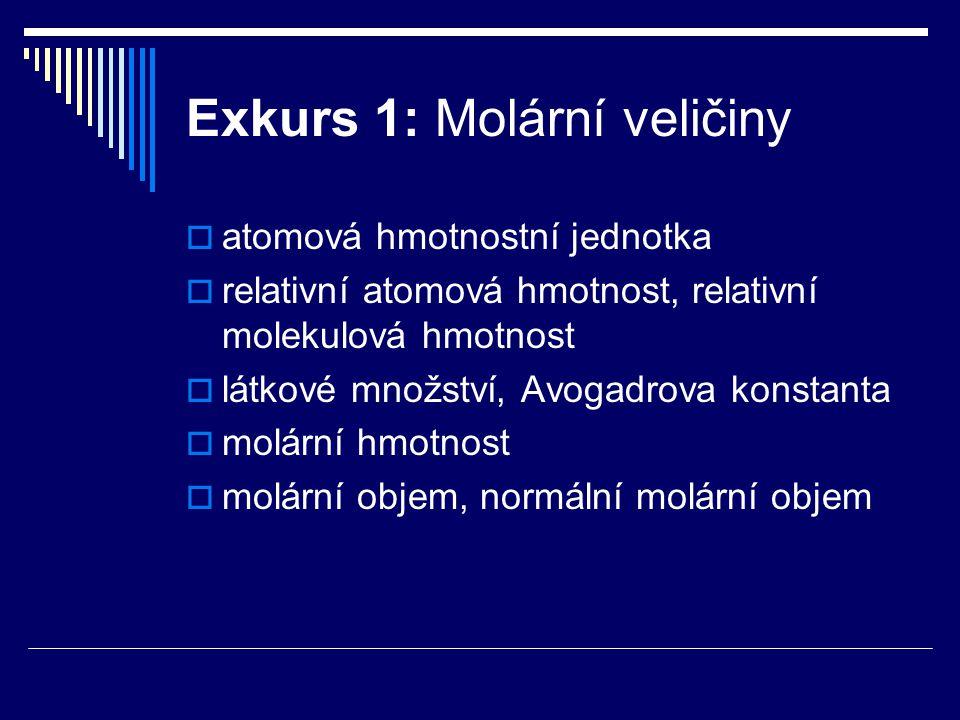 Exkurs 1: Molární veličiny