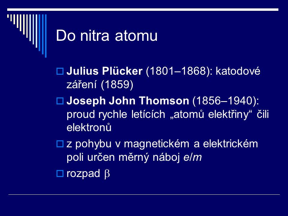 Do nitra atomu Julius Plücker (1801–1868): katodové záření (1859)