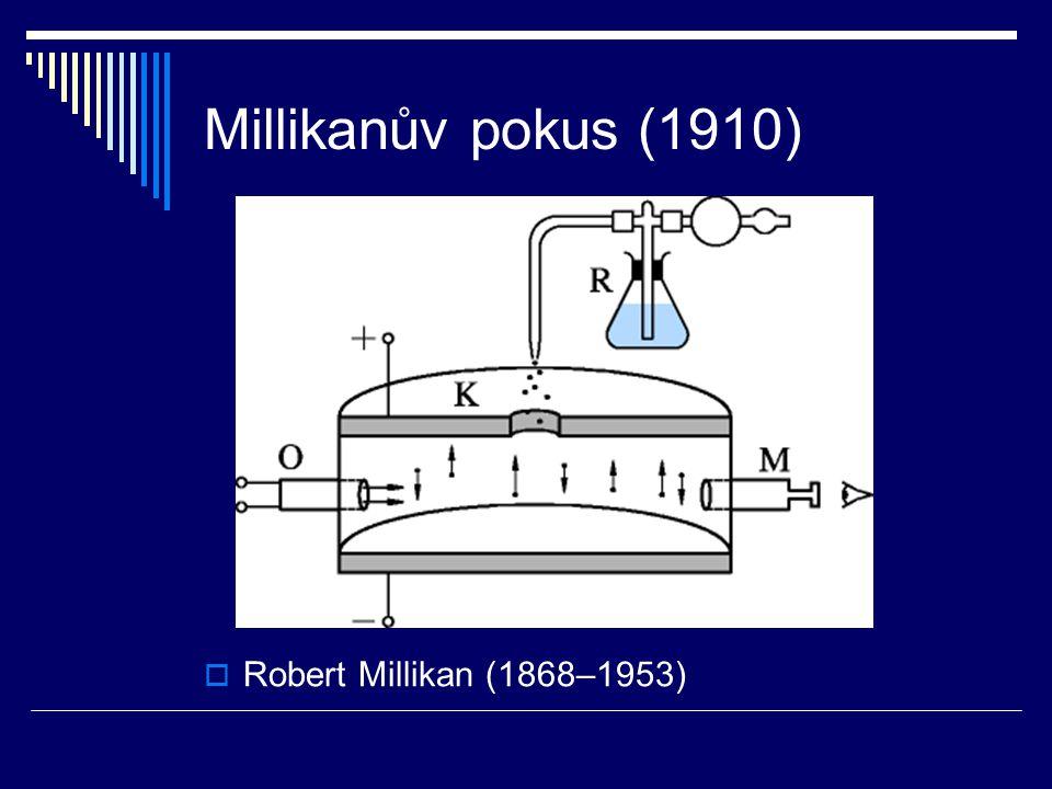 Millikanův pokus (1910) Robert Millikan (1868–1953)