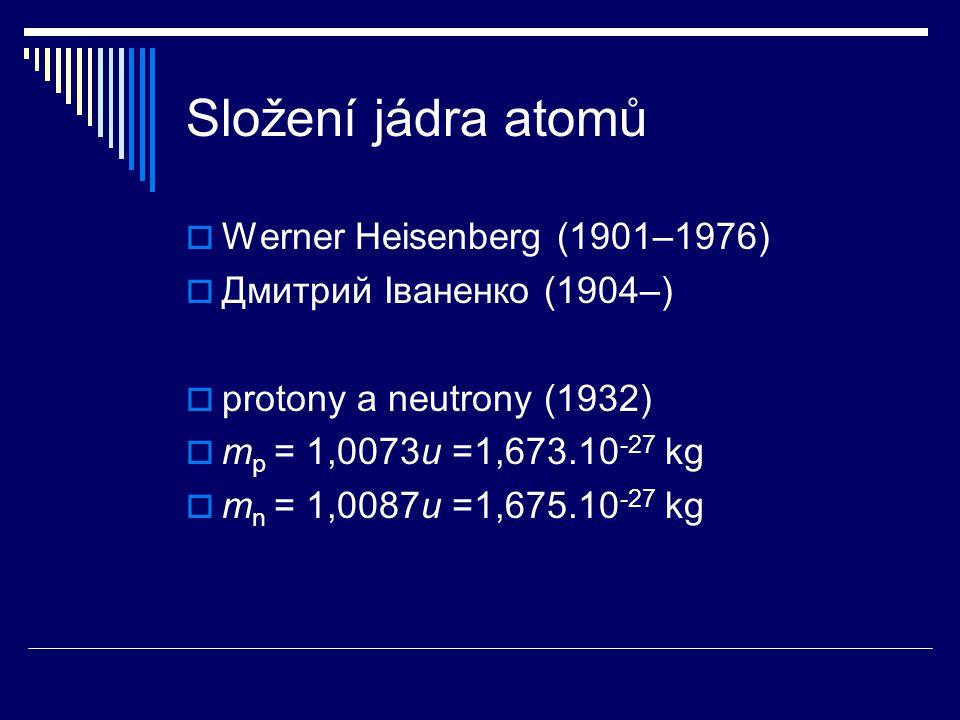 Složení jádra atomů Werner Heisenberg (1901–1976)