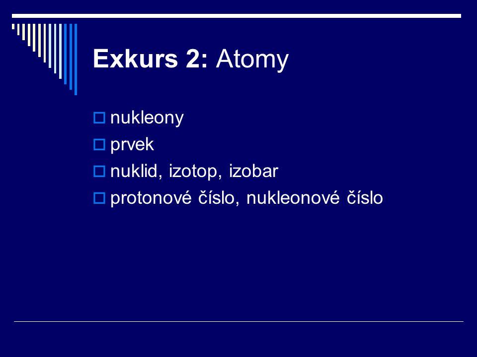 Exkurs 2: Atomy nukleony prvek nuklid, izotop, izobar