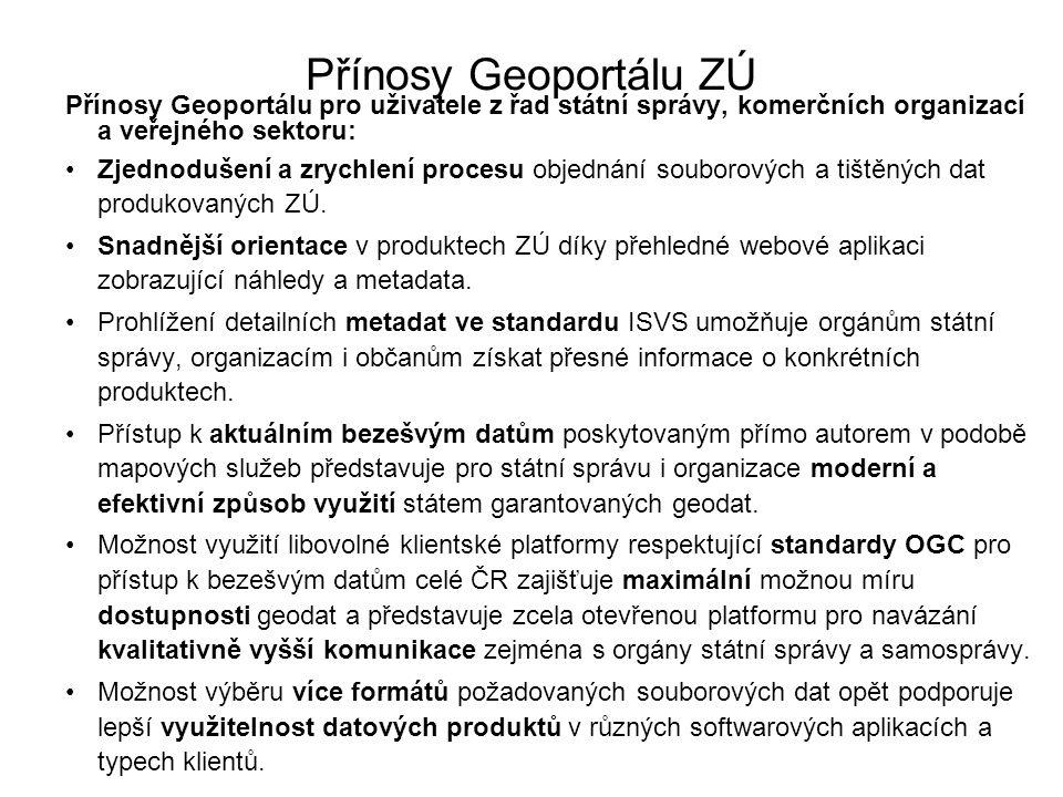 Přínosy Geoportálu ZÚ Přínosy Geoportálu pro uživatele z řad státní správy, komerčních organizací a veřejného sektoru: