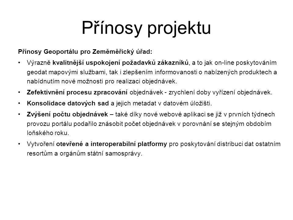 Přínosy projektu Přínosy Geoportálu pro Zeměměřický úřad: