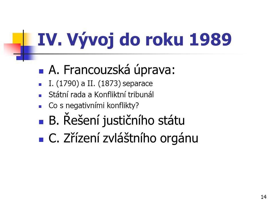IV. Vývoj do roku 1989 A. Francouzská úprava: