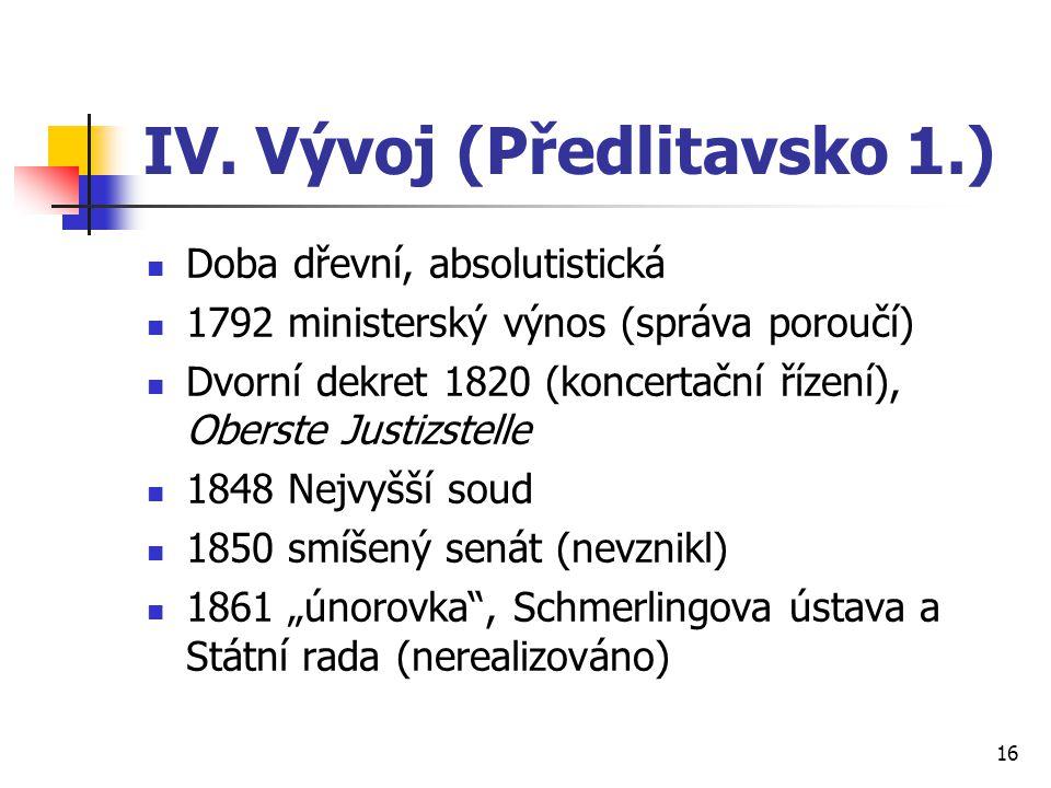 IV. Vývoj (Předlitavsko 1.)