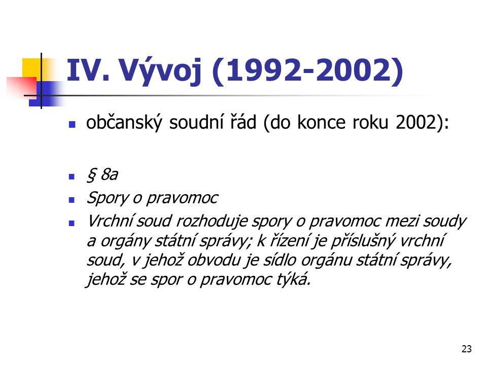 IV. Vývoj (1992-2002) občanský soudní řád (do konce roku 2002): § 8a