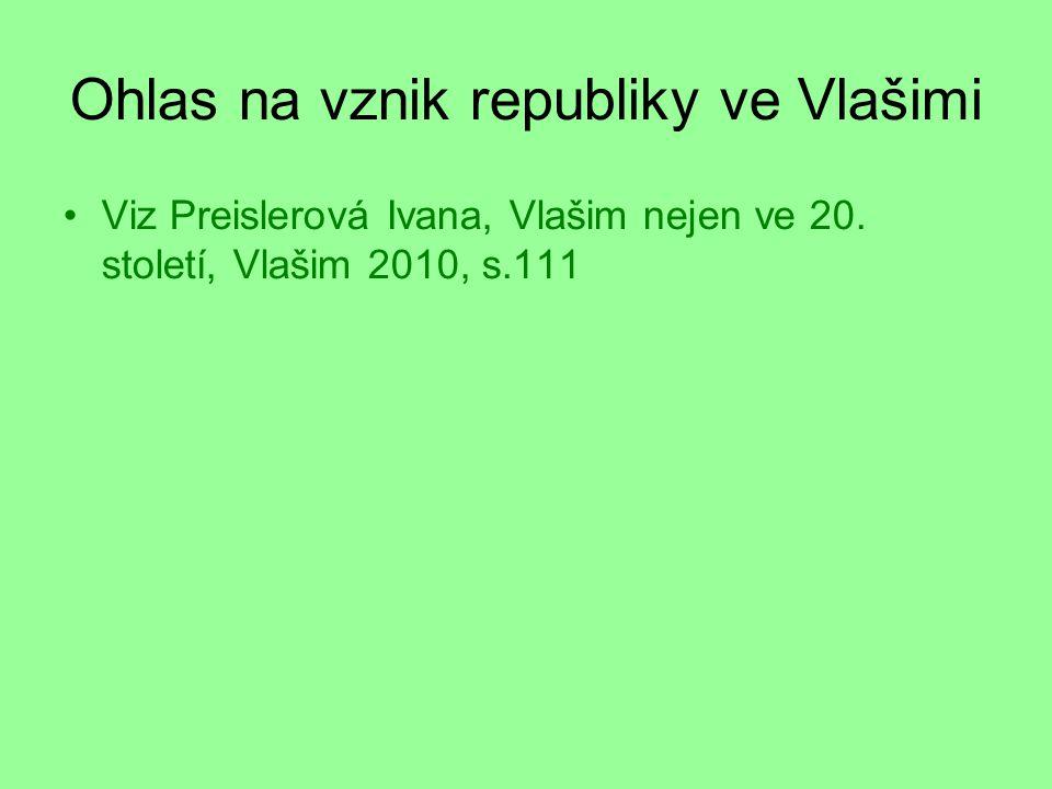 Ohlas na vznik republiky ve Vlašimi