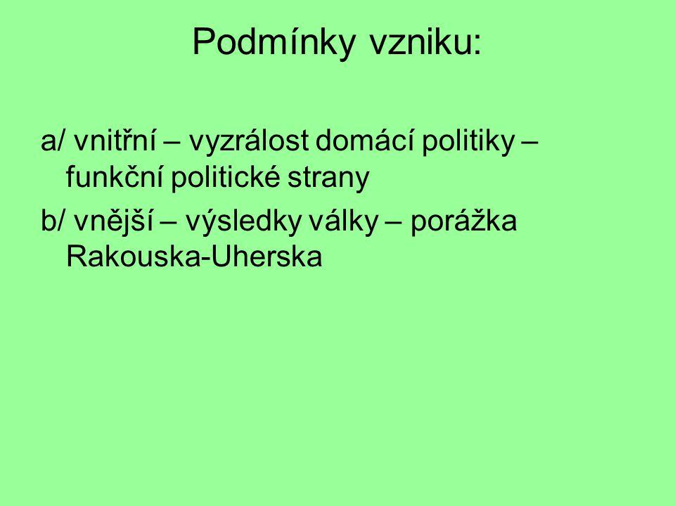 Podmínky vzniku: a/ vnitřní – vyzrálost domácí politiky – funkční politické strany.