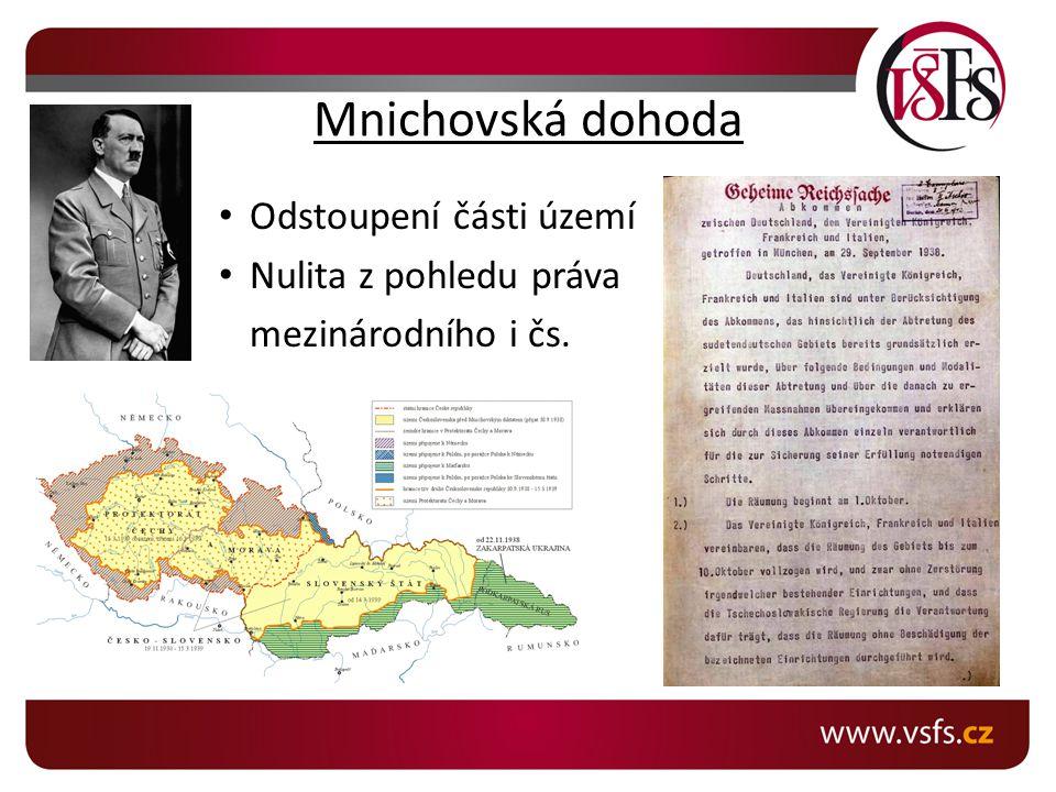 Mnichovská dohoda Odstoupení části území Nulita z pohledu práva