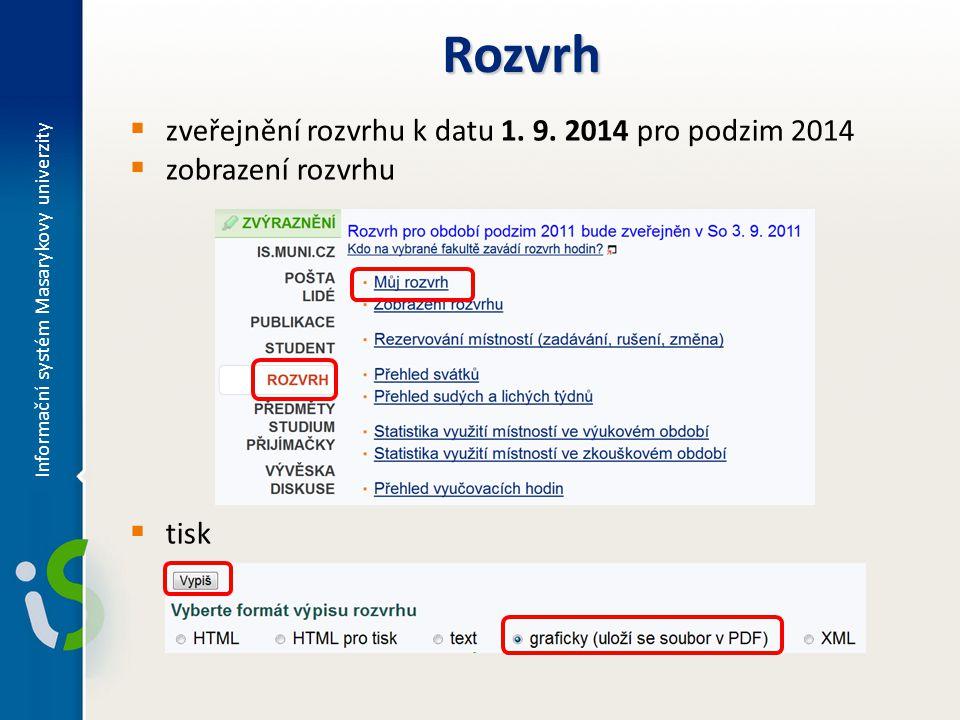 Rozvrh zveřejnění rozvrhu k datu 1. 9. 2014 pro podzim 2014
