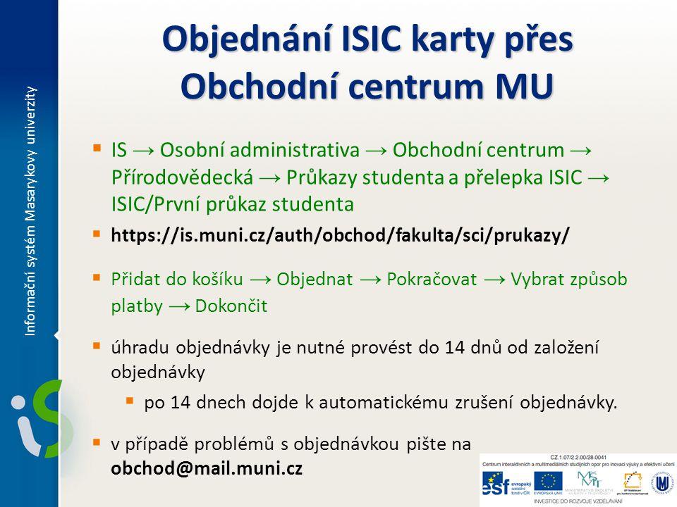 Objednání ISIC karty přes