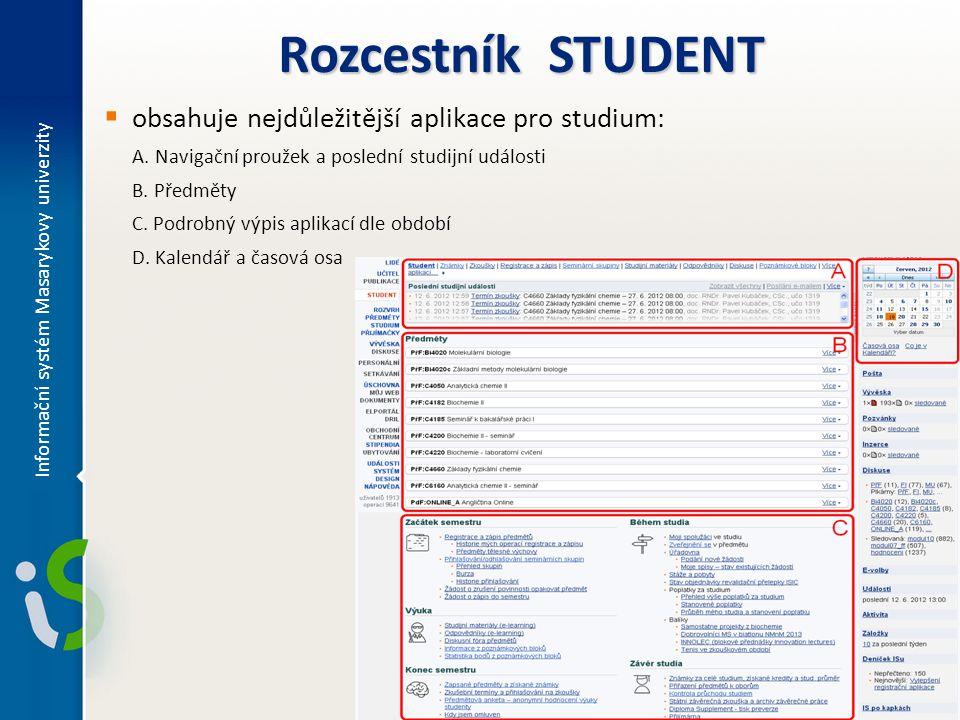 Rozcestník STUDENT obsahuje nejdůležitější aplikace pro studium: