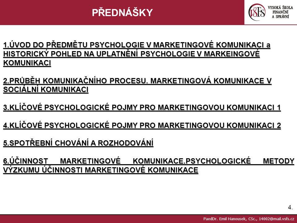 PŘEDNÁŠKY 1.ÚVOD DO PŘEDMĚTU PSYCHOLOGIE V MARKETINGOVÉ KOMUNIKACI a HISTORICKÝ POHLED NA UPLATNĚNÍ PSYCHOLOGIE V MARKEINGOVÉ KOMUNIKACI.