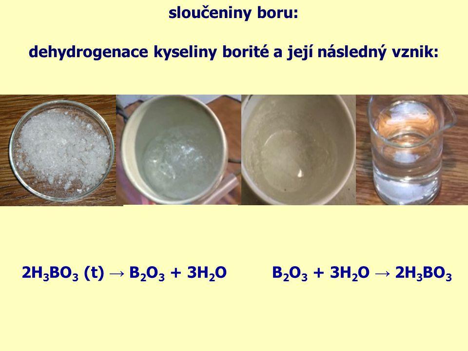 sloučeniny boru: dehydrogenace kyseliny borité a její následný vznik: 2H3BO3 (t) → B2O3 + 3H2O.