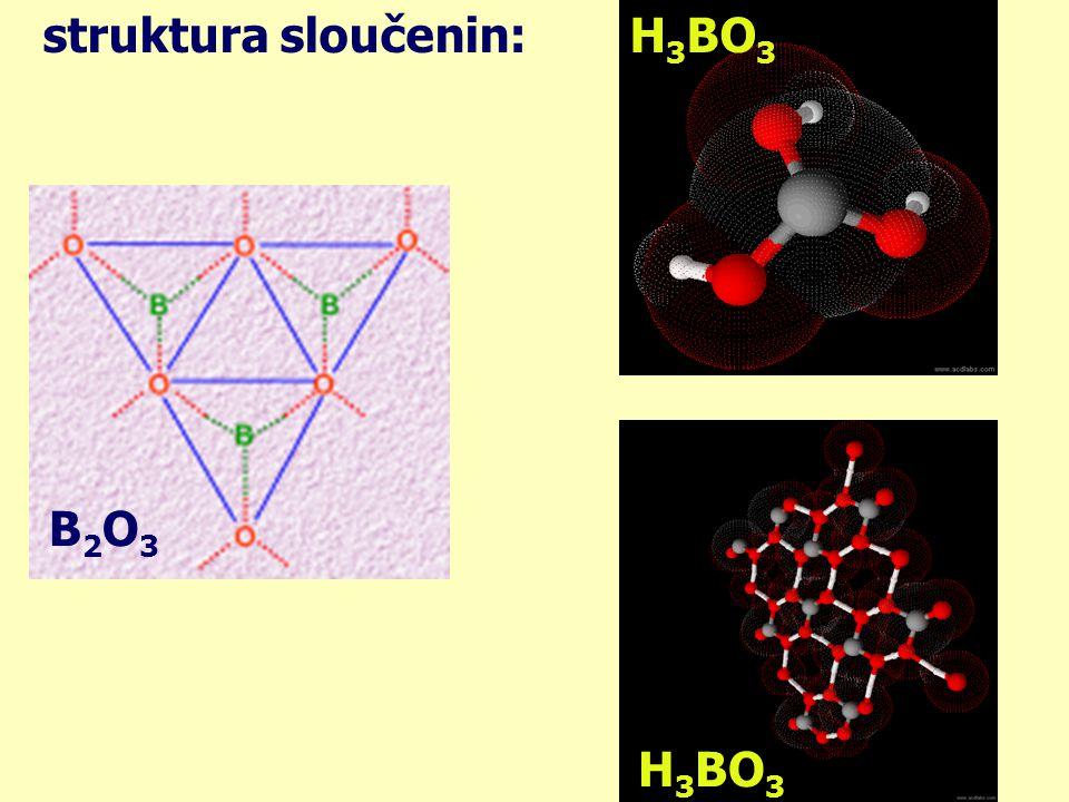 struktura sloučenin: H3BO3 B2O3 H3BO3