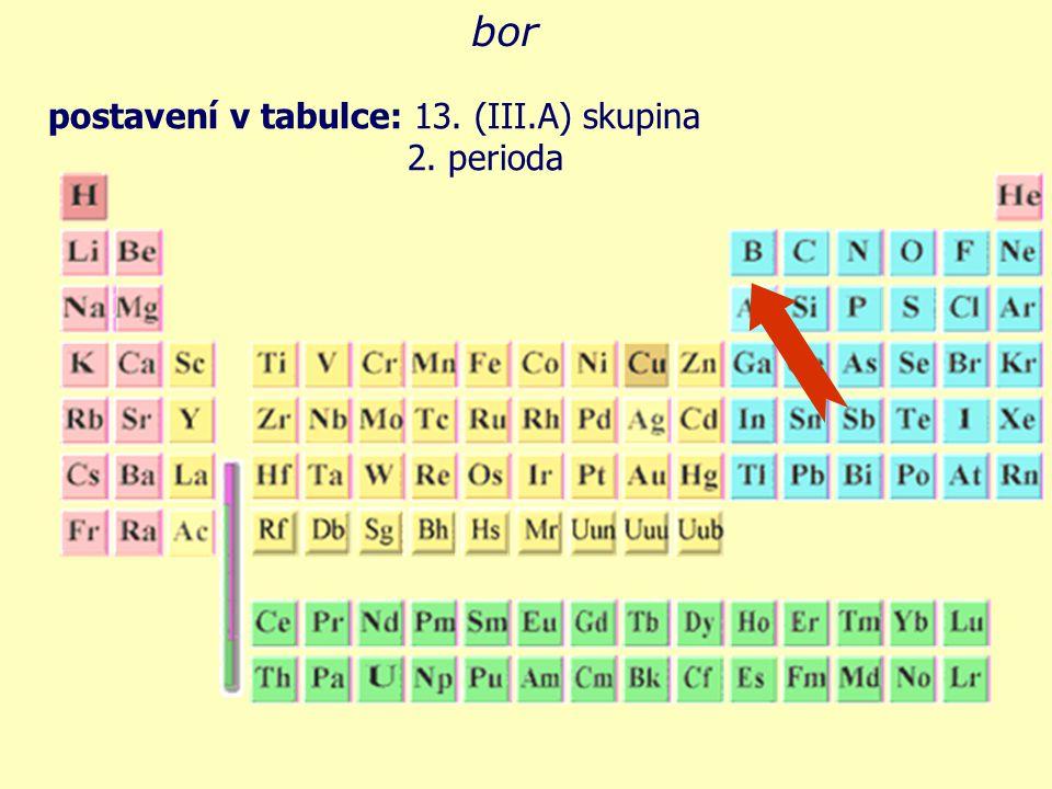 bor postavení v tabulce: 13. (III.A) skupina 2. perioda