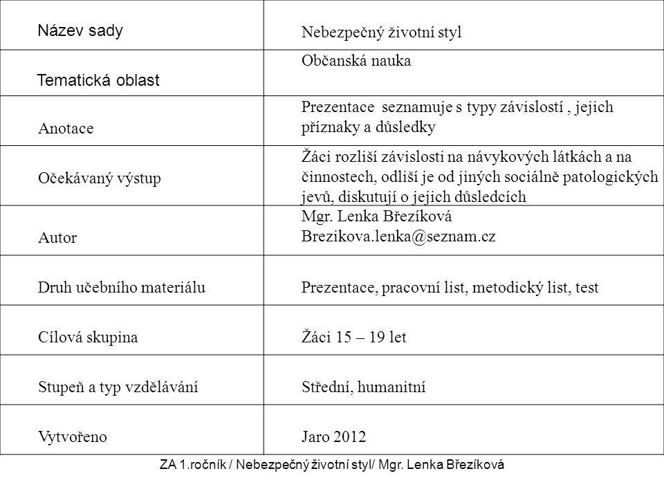 ZA 1.ročník / Nebezpečný životní styl/ Mgr. Lenka Březíková