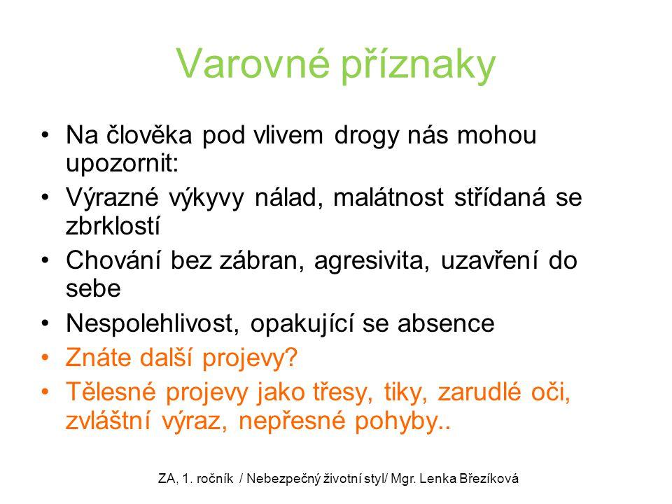 ZA, 1. ročník / Nebezpečný životní styl/ Mgr. Lenka Březíková