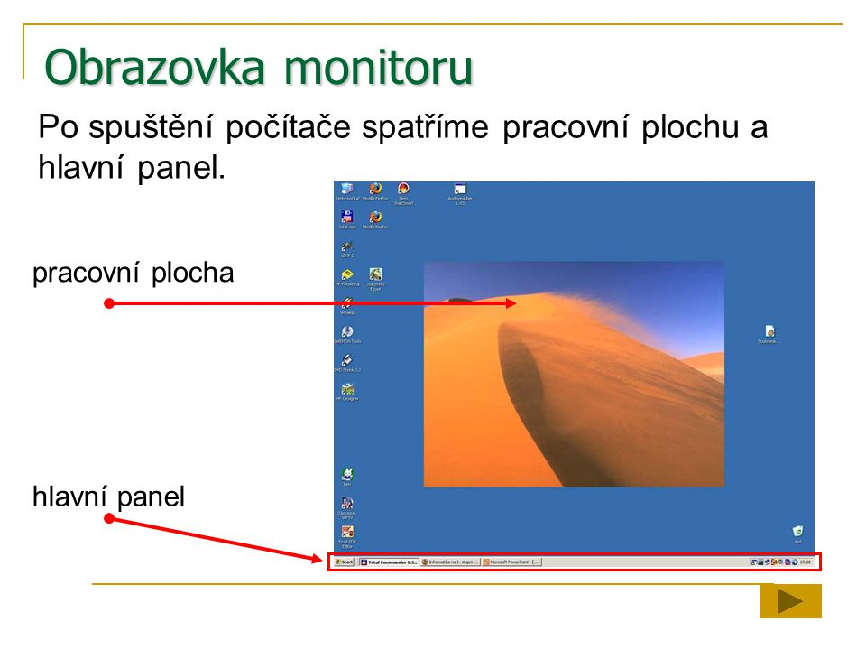 Obrazovka monitoru Po spuštění počítače spatříme pracovní plochu a hlavní panel.