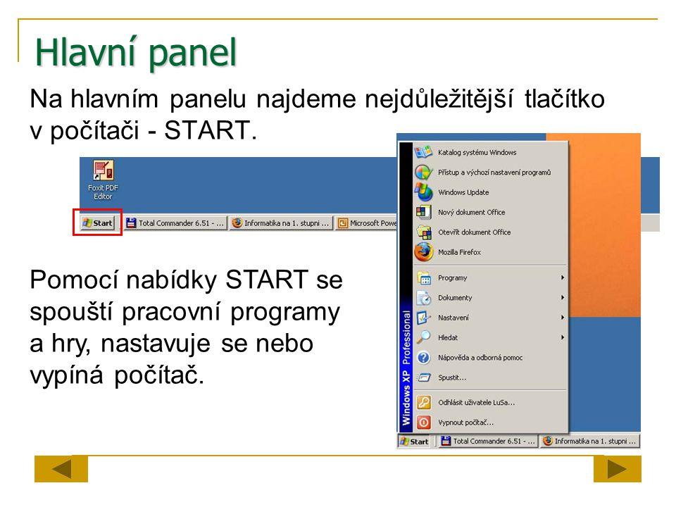 Hlavní panel Na hlavním panelu najdeme nejdůležitější tlačítko v počítači - START.
