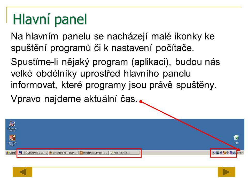 Hlavní panel Na hlavním panelu se nacházejí malé ikonky ke spuštění programů či k nastavení počítače.