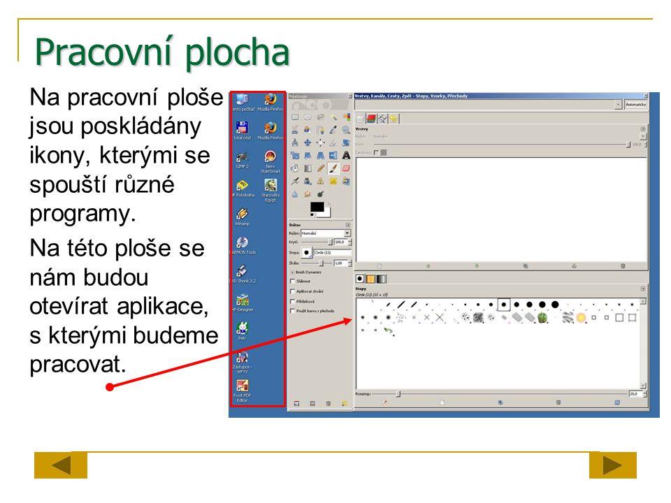 Pracovní plocha Na pracovní ploše jsou poskládány ikony, kterými se spouští různé programy.