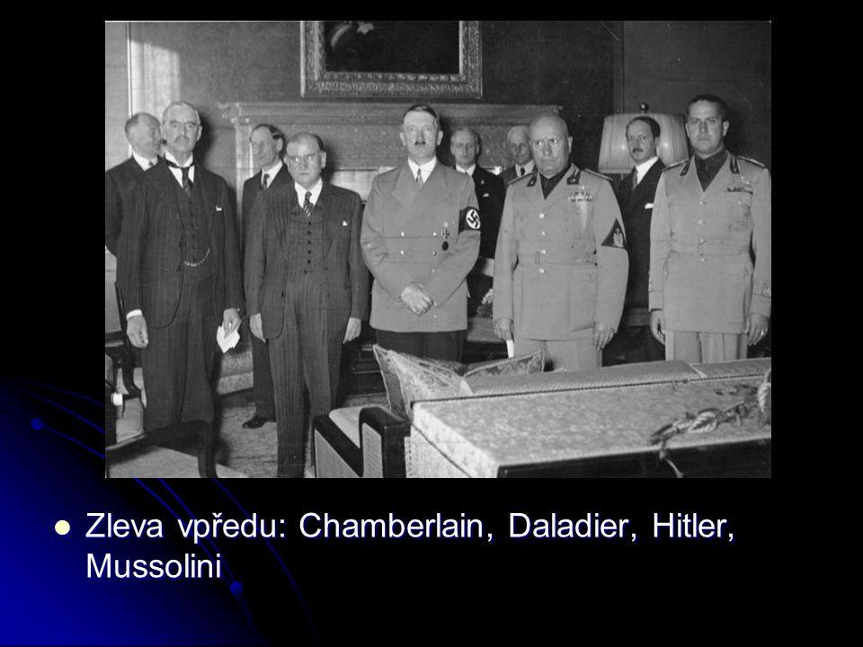 Zleva vpředu: Chamberlain, Daladier, Hitler, Mussolini