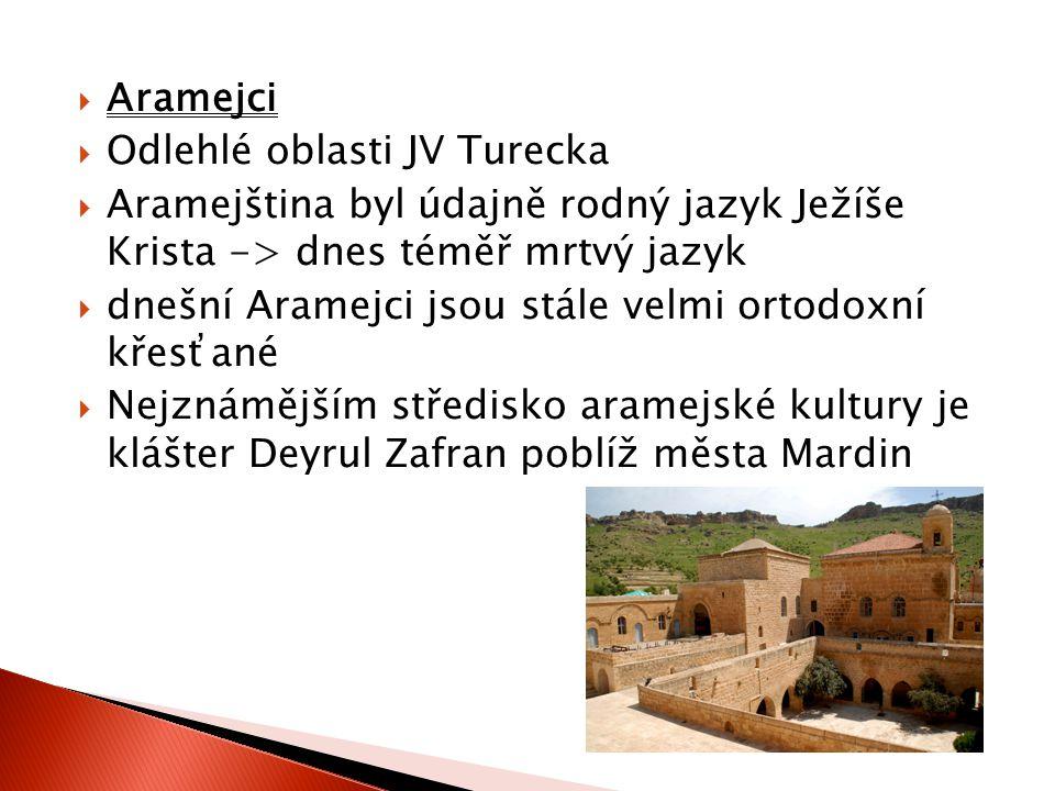 Aramejci Odlehlé oblasti JV Turecka. Aramejština byl údajně rodný jazyk Ježíše Krista -> dnes téměř mrtvý jazyk.