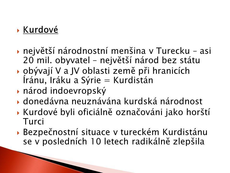 Kurdové největší národnostní menšina v Turecku – asi 20 mil. obyvatel – největší národ bez státu.