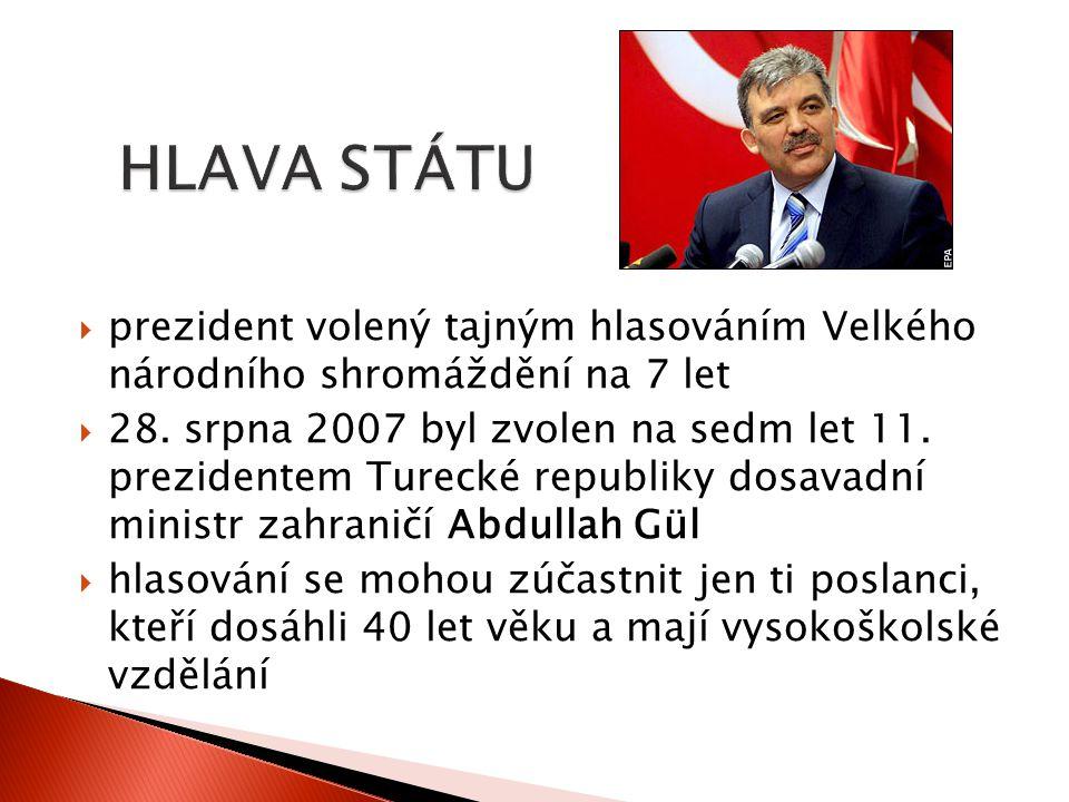 HLAVA STÁTU prezident volený tajným hlasováním Velkého národního shromáždění na 7 let.