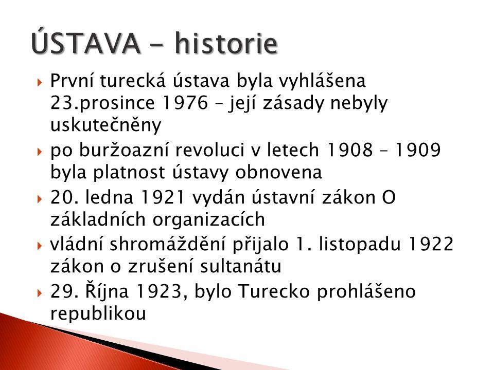 ÚSTAVA - historie První turecká ústava byla vyhlášena 23.prosince 1976 – její zásady nebyly uskutečněny.