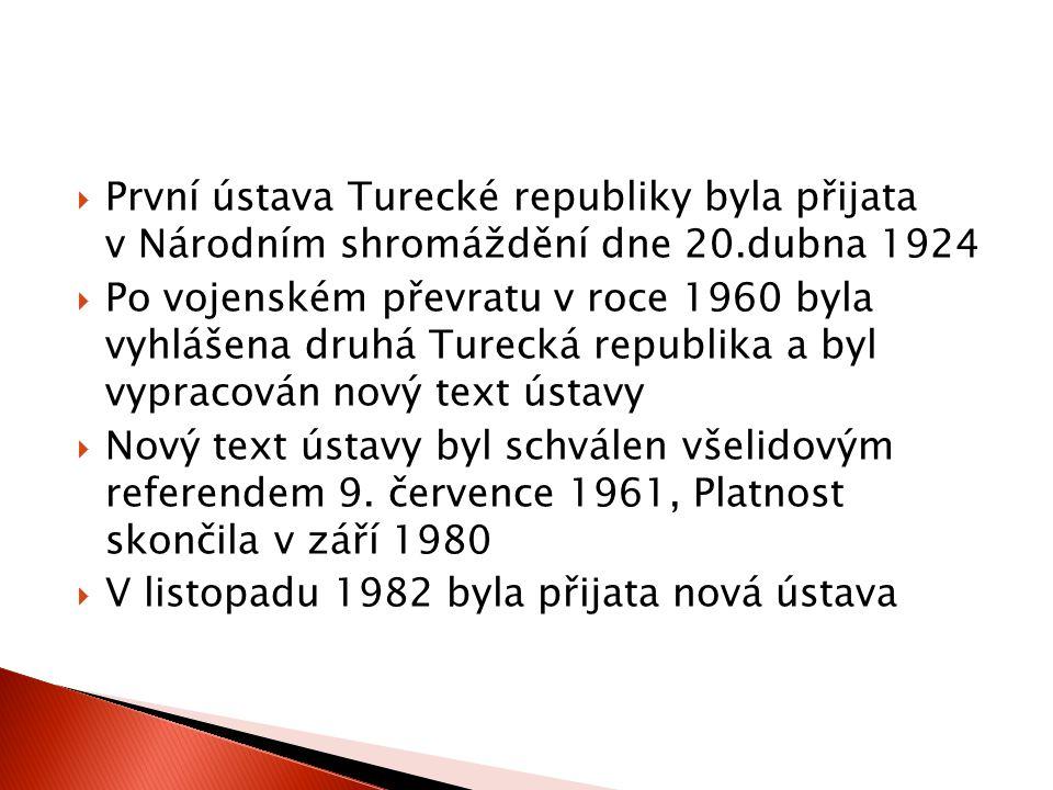 První ústava Turecké republiky byla přijata v Národním shromáždění dne 20.dubna 1924