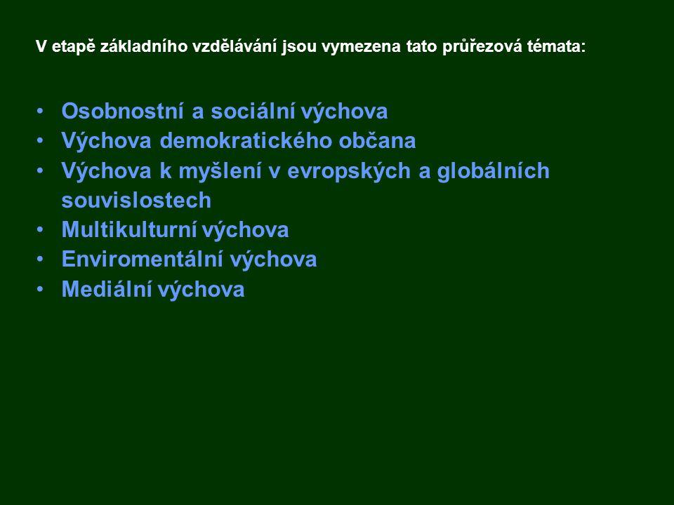 Osobnostní a sociální výchova Výchova demokratického občana