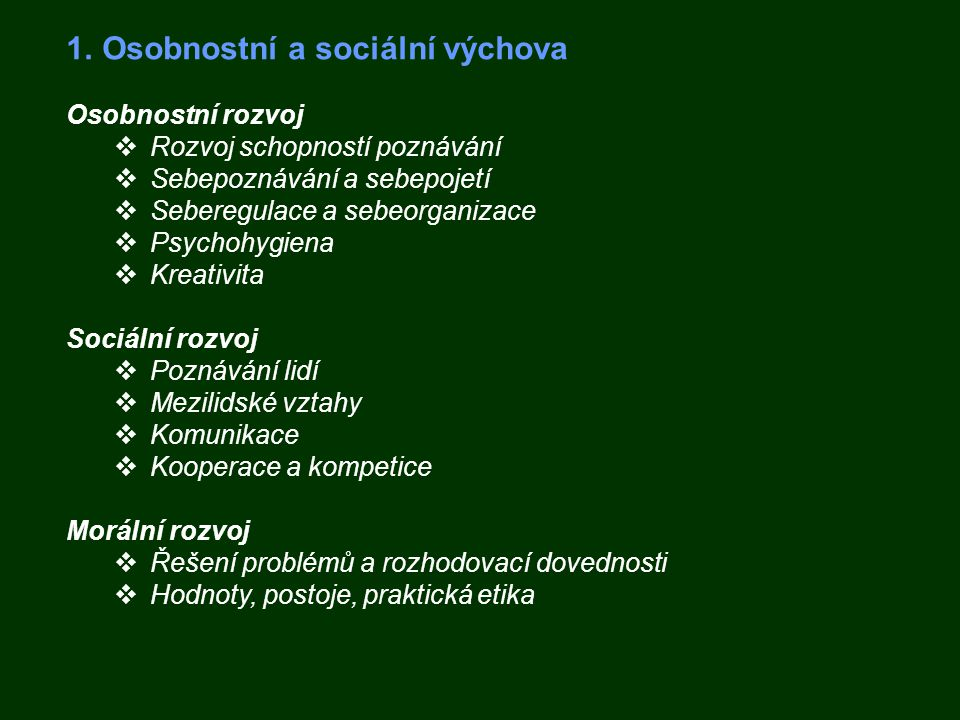 Osobnostní a sociální výchova
