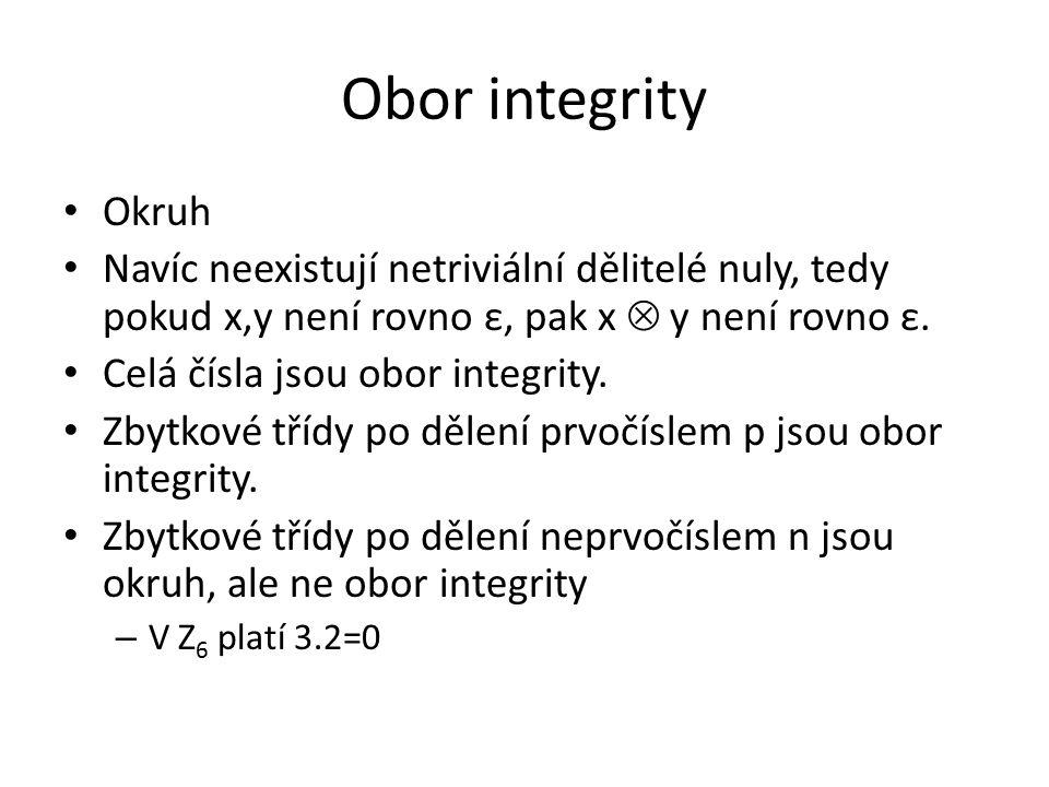 Obor integrity Okruh. Navíc neexistují netriviální dělitelé nuly, tedy pokud x,y není rovno ε, pak x  y není rovno ε.