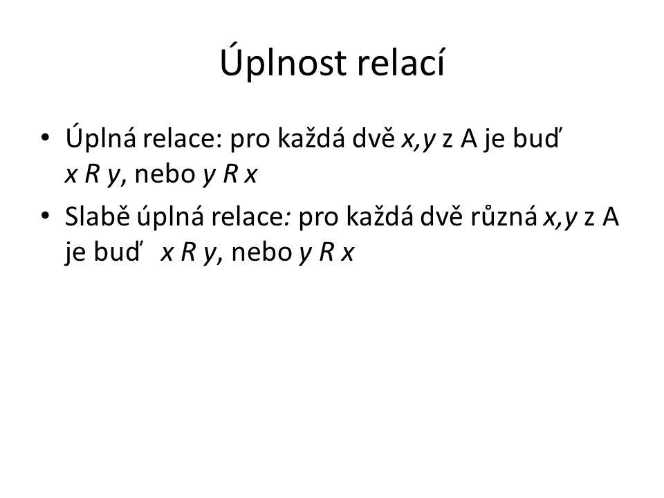 Úplnost relací Úplná relace: pro každá dvě x,y z A je buď x R y, nebo y R x.