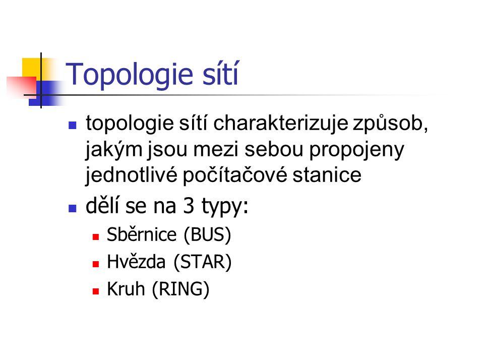 Topologie sítí topologie sítí charakterizuje způsob, jakým jsou mezi sebou propojeny jednotlivé počítačové stanice.