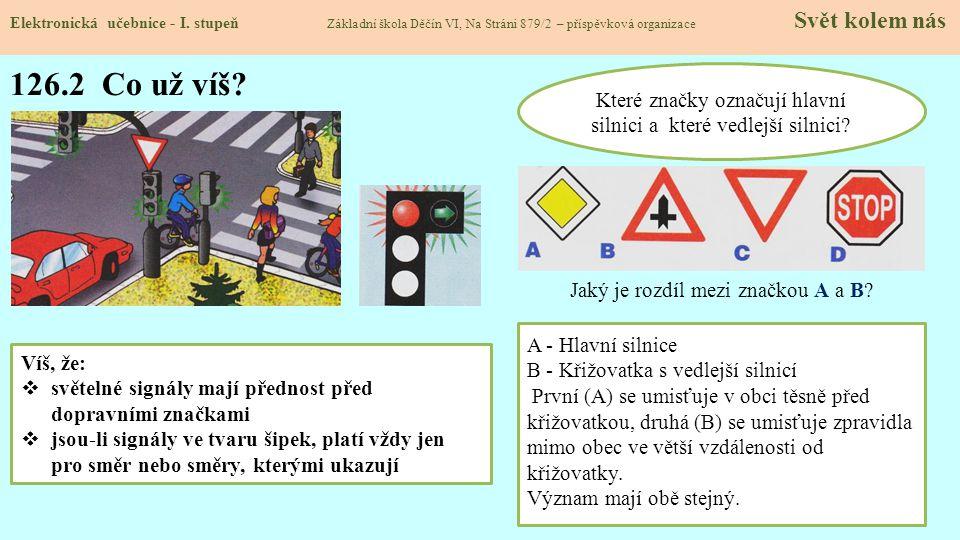 Které značky označují hlavní silnici a které vedlejší silnici