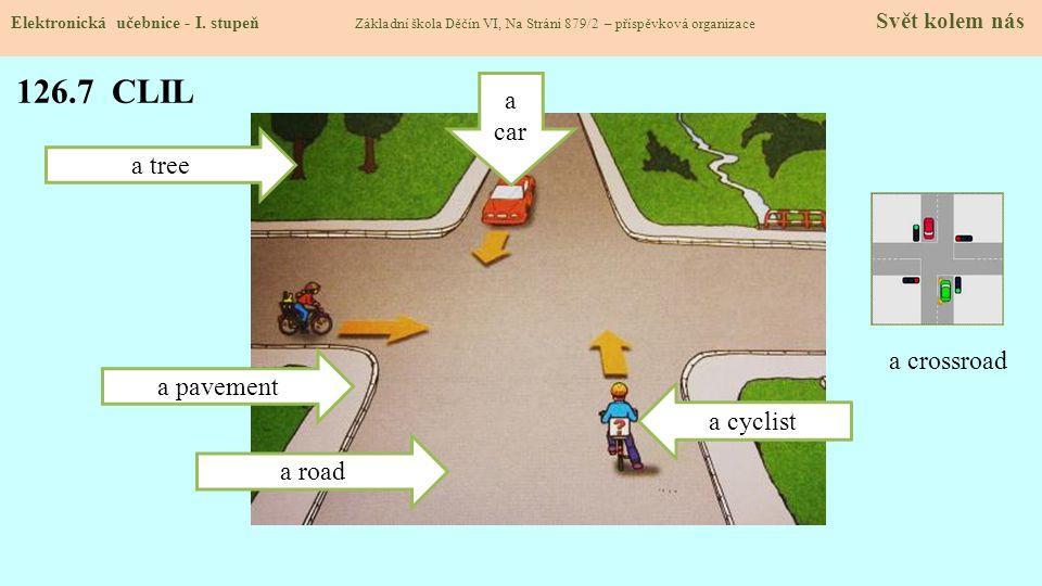 126.7 CLIL a car a tree a crossroad a pavement a cyclist a road