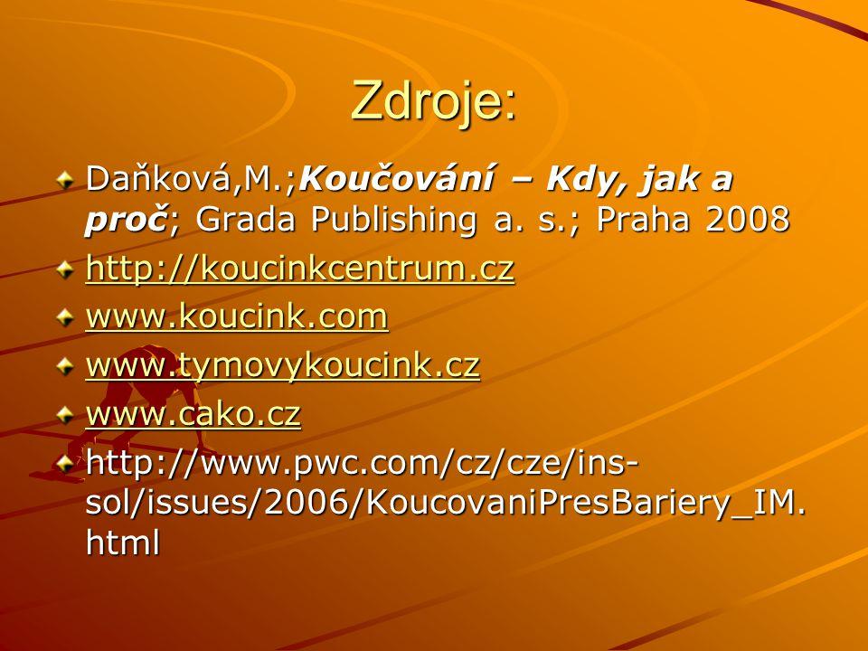 Zdroje: Daňková,M.;Koučování – Kdy, jak a proč; Grada Publishing a. s.; Praha 2008. http://koucinkcentrum.cz.