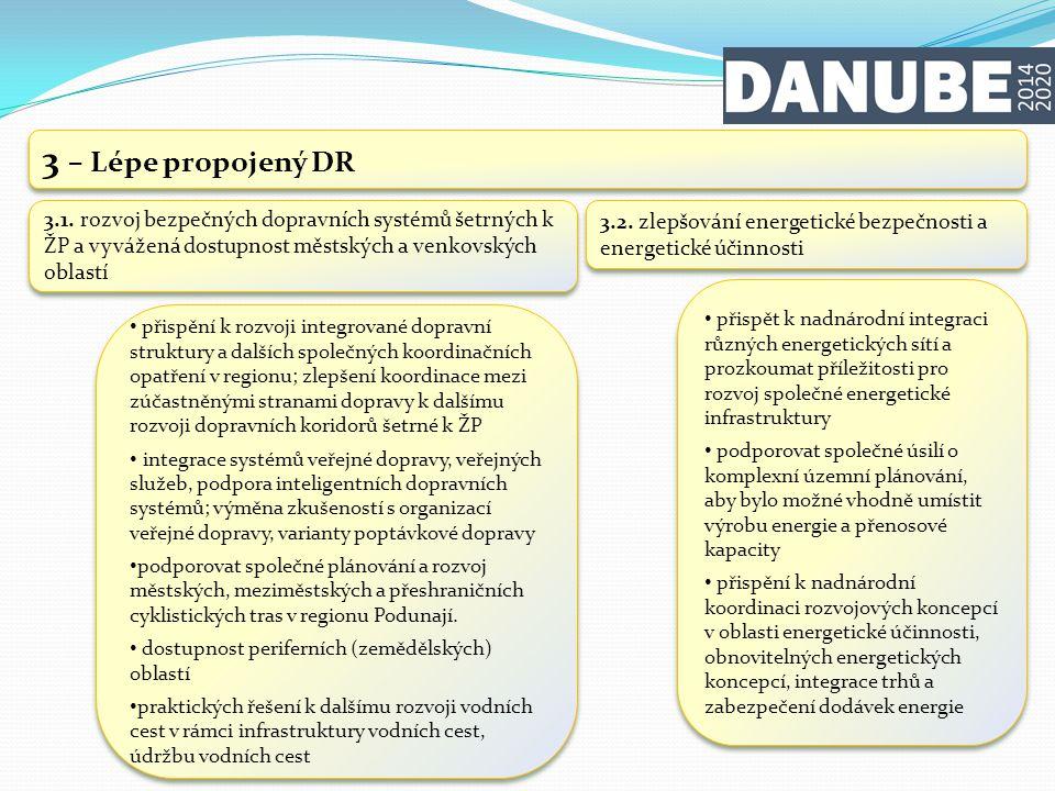 3 – Lépe propojený DR 3.1. rozvoj bezpečných dopravních systémů šetrných k ŽP a vyvážená dostupnost městských a venkovských oblastí.