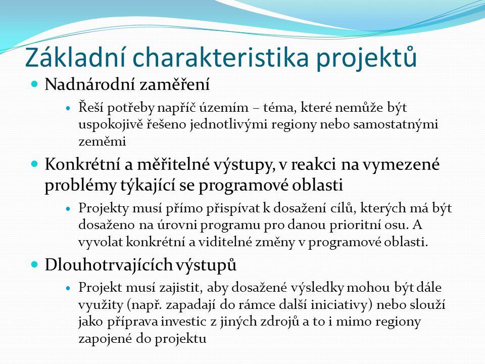 Základní charakteristika projektů