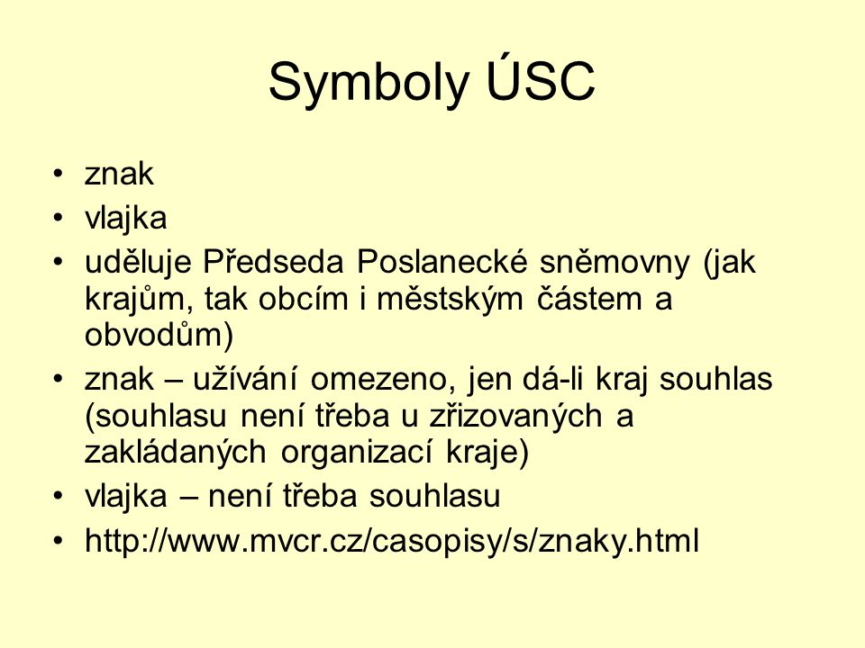 Symboly ÚSC znak vlajka
